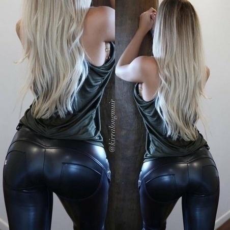 新しいファッションプラスサイズセクシーな女性フェイクレザーレッグレッグブラックフットレスレギンス(S  -  5XL)