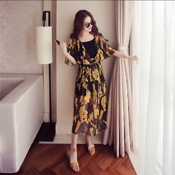レディースワンピース 韓国無地 スリム 韓国のファッション 上品  学院?  シフォンワンピース Vネックプリントワンピース ボヘミア ハイセンス 着心地いい おしゃれ 夏 スリム セール★ レディー