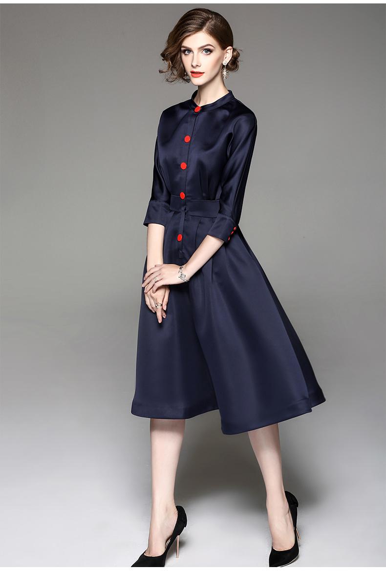 2018早春 韓国ファッション ワンピース レディースワンピース 七分袖 ハクチョウ 大きいサイズのワンピース 復古 ファッション 気質 大振り子 中長項 ドレスワンピース 女