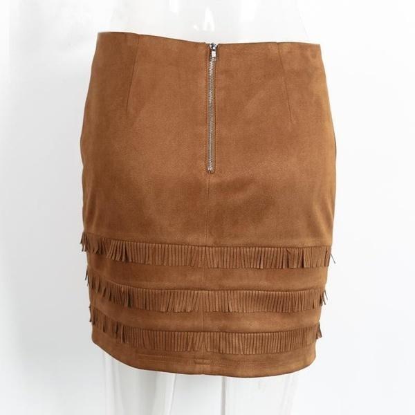 ヴィンテージレトロスエードフェイクレザータッセルボディコンスカート女性ハイウエストペンシルスカート