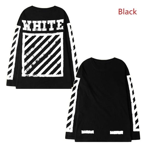 オフホワイトユニセックスヴァージルアブロホワイトブラックロングスリーブティーコットンシャツスウェットシャツ