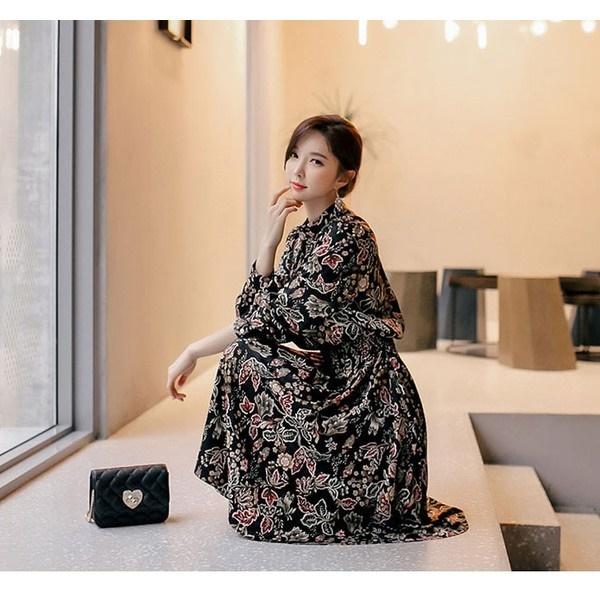 ワンピース レディース 膝丈 花柄 フラワー 長袖 40代 ファッション 2017 秋 新作 ES-4432