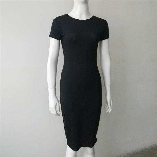 女性のドレスコットンの膝丈のスキニーのオフィスドレスショートスリーブロベボボディコンの鉛筆のドレス