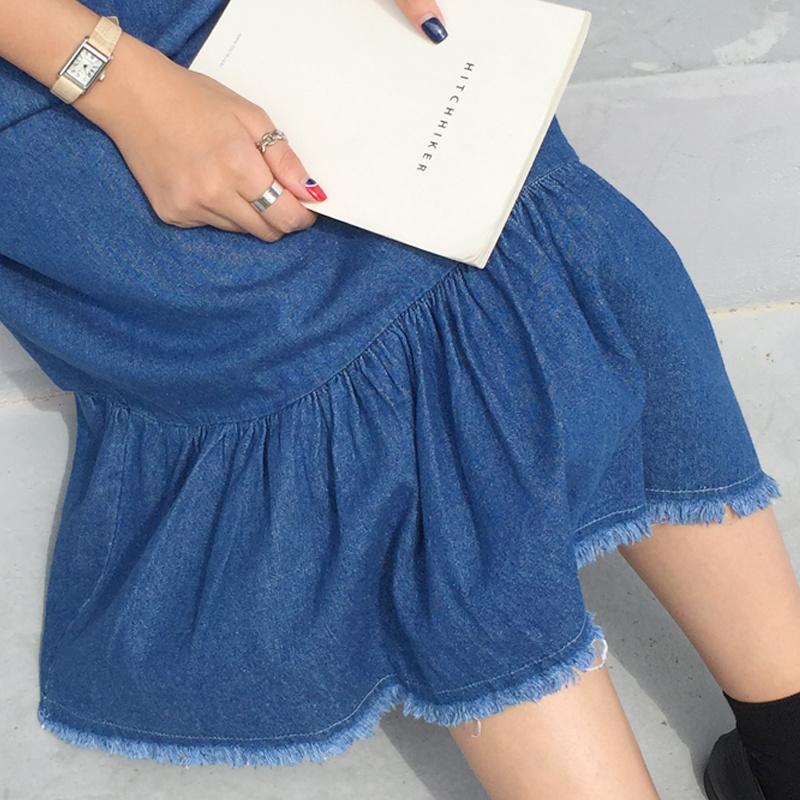 ww55【送料無料】新作!レディース ワンピース デニムワンピース 袖なし 大人可愛い 体型カバー ロング丈 ティアード裾 フリンジ  カジュアル オールインワン 韓国ファッション