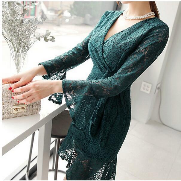 レディースワンピース セクシー 七分長袖フレア袖 リボンレース 透けシースルーVネック 韓国ファッション