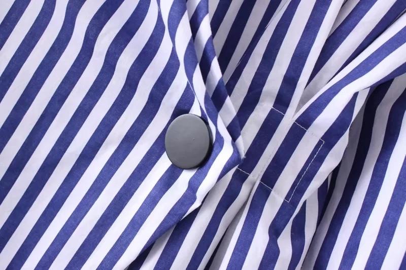 欧米風  レディース vネック ブルー ストライプ柄 長袖シャツワンピース  ボタン カジュアル ミニワンピース お洒落 大人