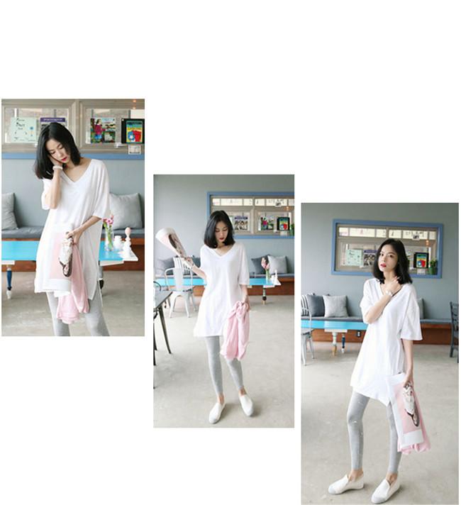 Tシャツワンピース V ネック 無地 韓国ファッションTシャツ 大人の女性の必須 シンプル ドルマンスリーブ 短袖  レディース  綿 スリム・ライン 着痩せ 夏ファッション ワンピース 胖のシャツ