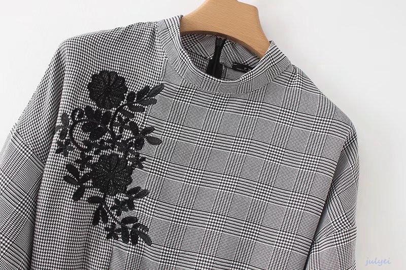 欧米風 ブラック花刺繡入り 格子縞ワンピース 5分袖  リボンベルト付き  レディース ミニワンピース ハイウエスト着やせ 大人 かわいい