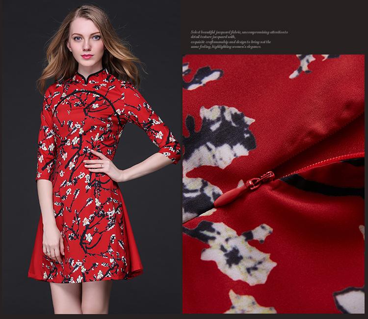 ♥限定発売♥送料無料で♥正規品♥韓国ファッション♥半袖、セレブなOL気質の職業の服装,レディースファッション♥ 春と夏のファッション赤 プリントワンピース ショートスリーブドレス ドレス ピース ピー