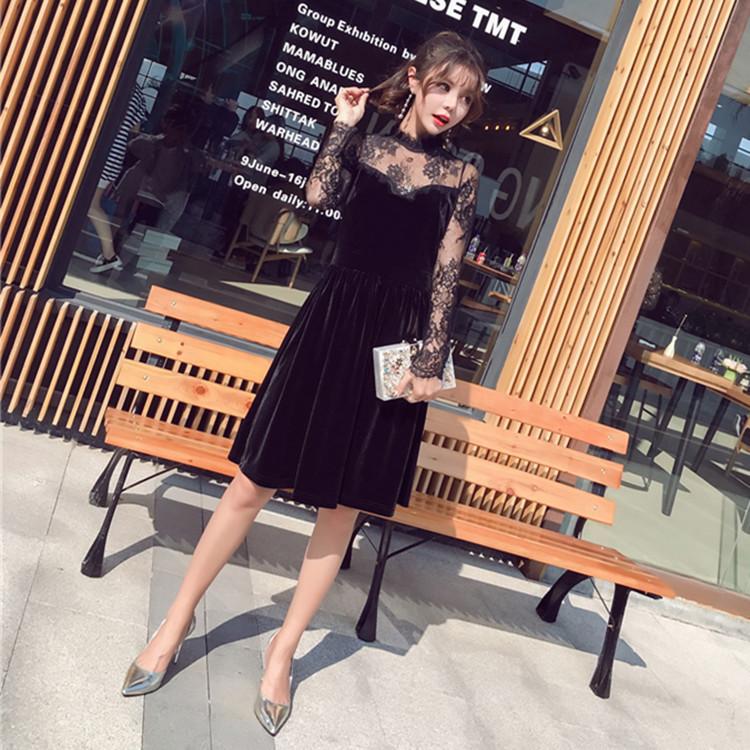 【送料無料】   韓国ファッション ワンピース ドレス レース レトロ  ベロア  フレア  ワンピース 結婚式 お呼ばれ 二次会 謝恩会 披露宴 パーティー ドレス