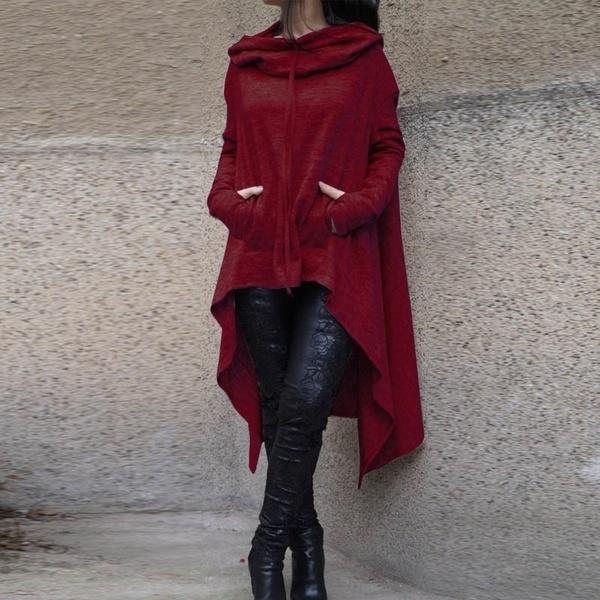 女性のファッションバットウィングフード付き非対称ロングスリーブルーズプルオーバーカジュアルロングパーカー