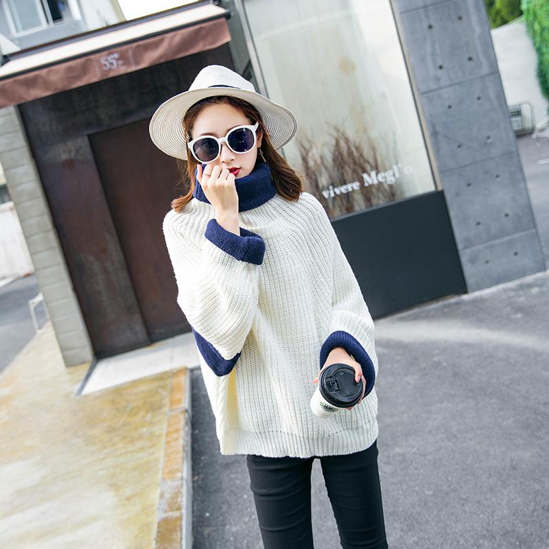 スタンドカラーのシンプルな長袖ファッション気質百搭街頭甘いゆったりニット/セーター2017