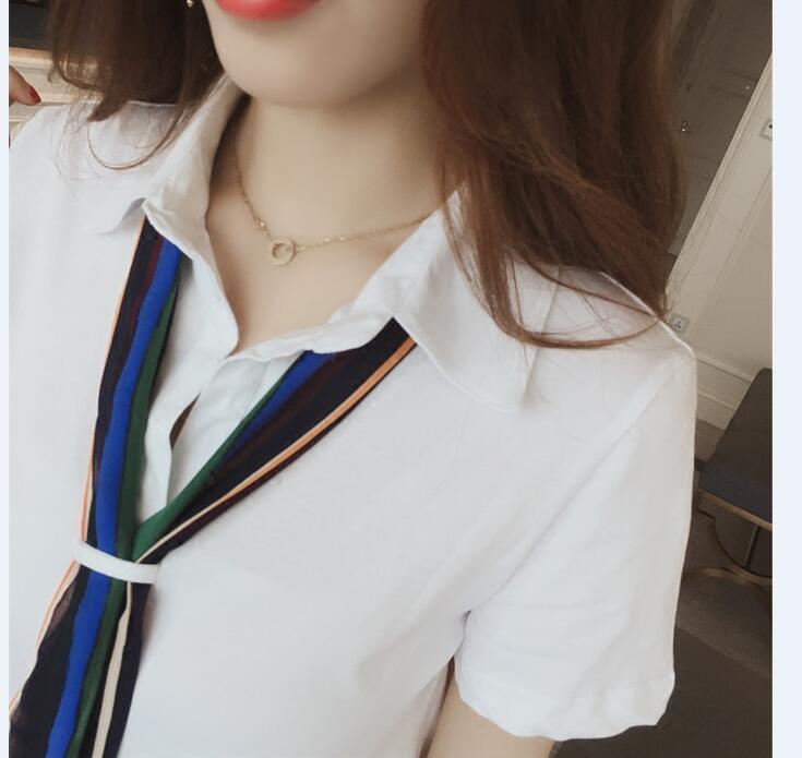 レディース シャツワンピース  通勤 夏 半袖 Aライン 白 黒 ネクタイ ひざ丈 襟付 シンプル