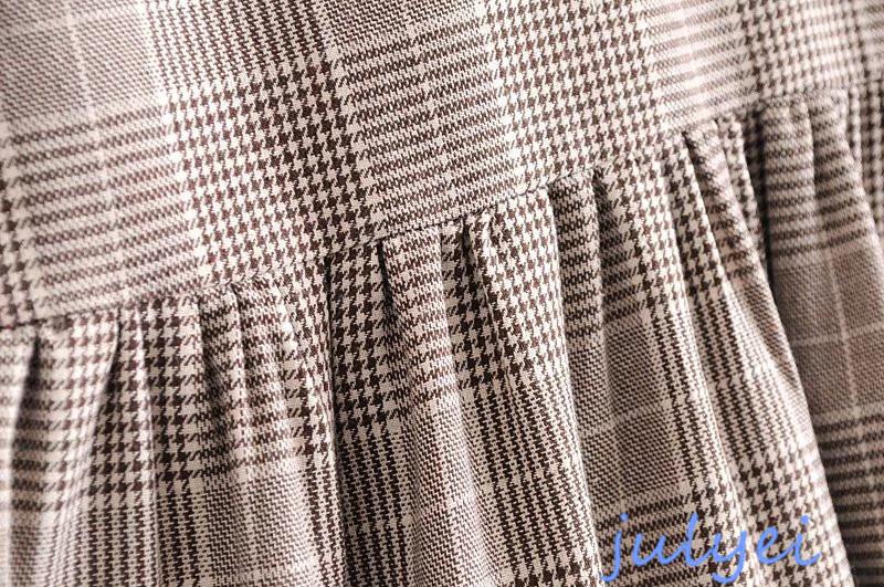 欧米風 花刺繡入り 格子ラウンドネック ワンピース 格子縞模様  ストレート ミニワンピース シャツワンピース  チュニック 体型カバー