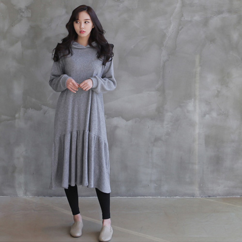 [zoozoom] Napping frill hood dress 3color / 28663