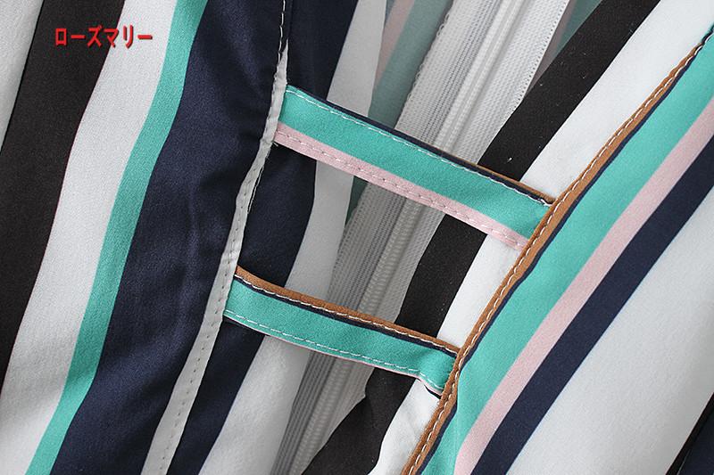 【ローズマリー】2018新型ファッション対比色ストライプ長袖着やせワンピース 長袖ワンピース ストライプ タイトスカート  ベーシック-QQ5952