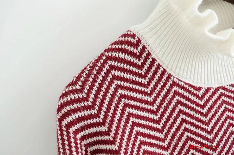 【ローズマリー】冬韓版ゆるT長袖2017新型ストライプニットスカート女性裾に長フリンジワンピース 長袖ニットワンピース  ベーシック 大人気 フィットスタイル-QQ4223