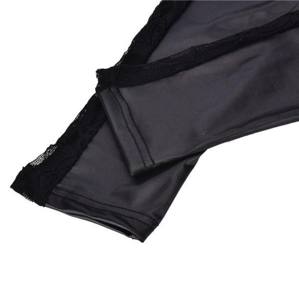 HAZYファッション新女性PUレザーゴシックパンクレギンスパンツレーススキニーパンツ