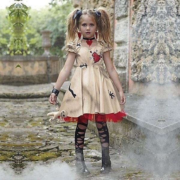 ハロウィンコスチューム女の子の女性コスプレドレスブードゥー人形大人&子供のためのコスチュームファンシードレスボール