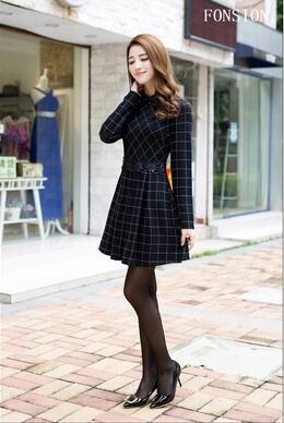 【55555shop】新しい冬の長袖のドレスのステッチスリム女性の韓国の格子縞のドレスは甘い薄い
