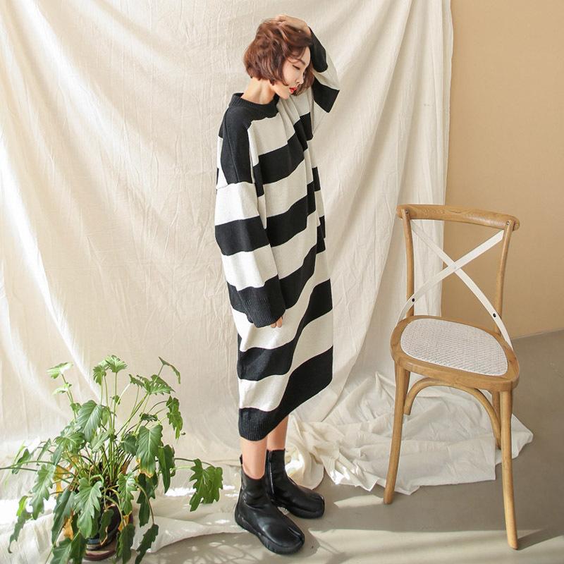 ♥送料 0円★PPGIRL_A998 Mono stripe long knit / knit T shirt / loose fit / stripe knit top / knit dress