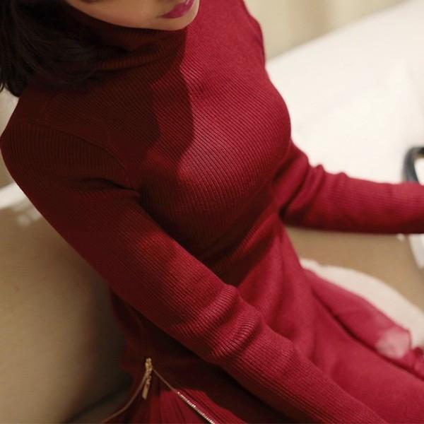 送料無料 毛糸セーター レディースファッション 秋冬 新作 2014韓国風 すそにシフォン切り替え タートルネック ロング丈 スリム見せ インナーシャツ 女性