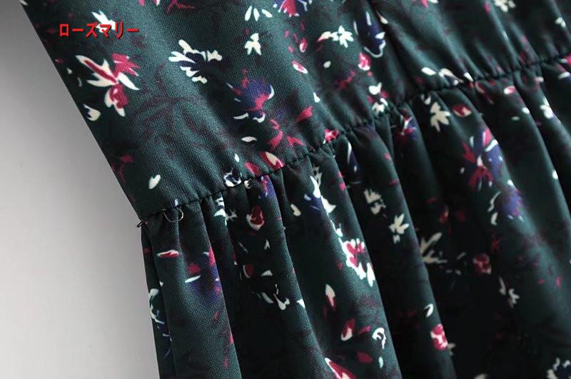 【ローズマリー】欧米風の春の新型さんフリル飾プリントのワンピース 花柄 長袖ワンピース ヴィンテージ調  ベーシック 大人気-R286