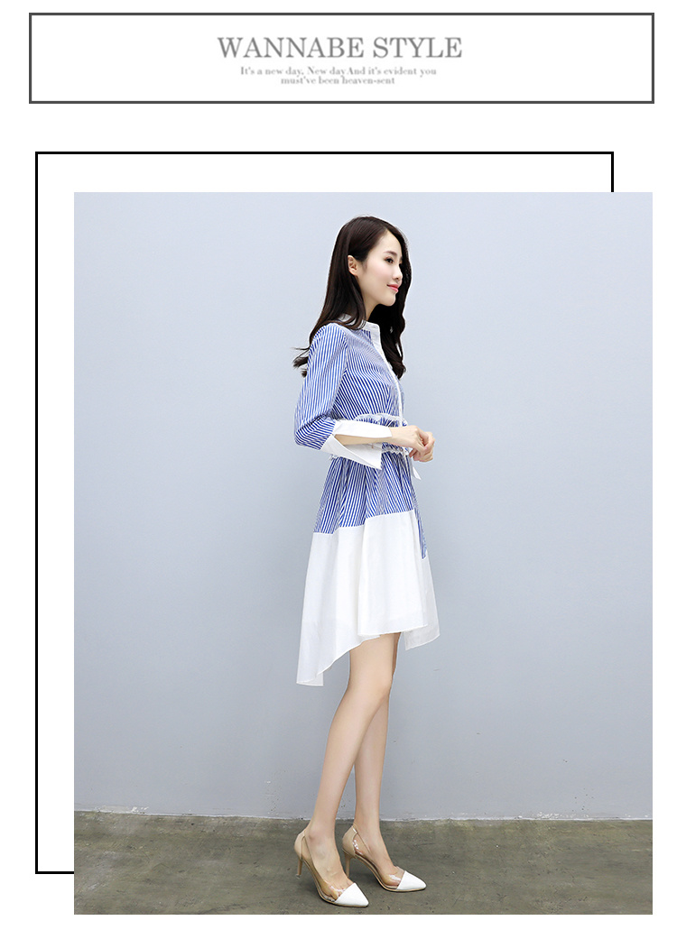[55555SHOP]韓国ファッション 二点セットスカート正規品♥メリヤスワンピース ストライプのワンピースニットワンピース