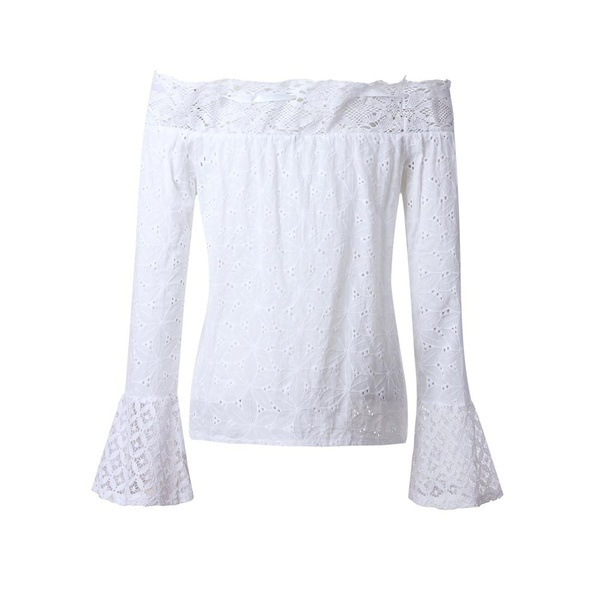 &女性オフショルダーロングスリーブレースルーズブラウストップTシャツ