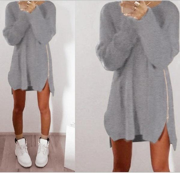 女性は暖かい膝のポリエステルプレーンニットジッパーセータードレスの上に緩やかな