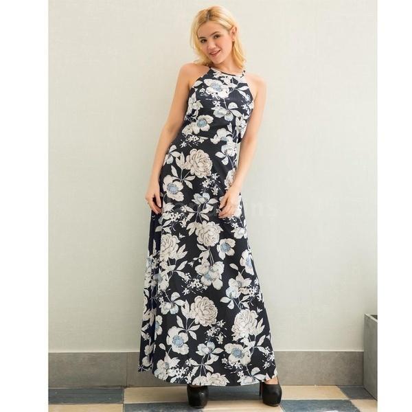 マキシレディースファッションドレスホルターネックフラワープリントノースリーブサマービーチホリデーロングスリップワンピース