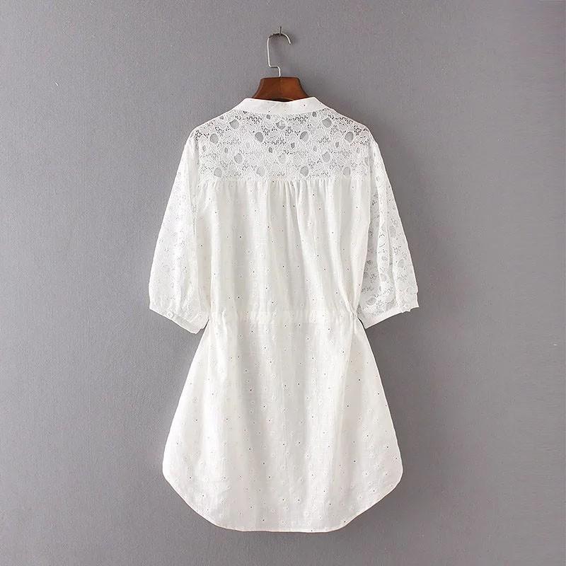 vivishow シャツワンピース シャツ ワンピース 七分袖 ロング 花柄 レディース ゆったり 大きいサイズ チュニックワンピース