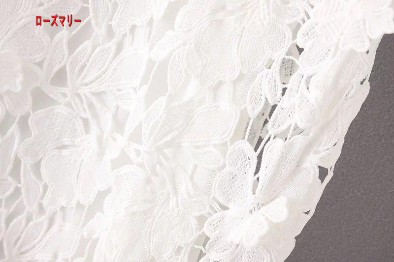 【ローズマリー】レースの立体視花の透かし彫りの2点セットのワンピース スイート  半袖ワンピース 女性らしさUP  ベーシック 大人気-R1239