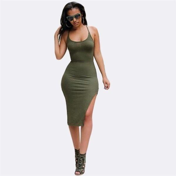 女性ファッションノースリーブ包帯スプリットバックレスドレスセクシーなクラブウェア