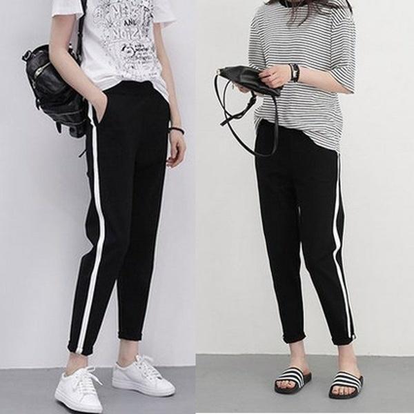ファッション女性のサイドストライプスーツパンツブラックカジュアルズボンヒップホップジョガーパンツ