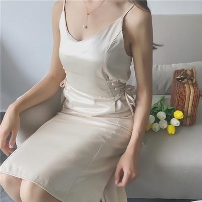 韓国 個性 包帯 ウエスト 単一色 Vネック 中長デザイン ドレス 女 夏 ワンピース