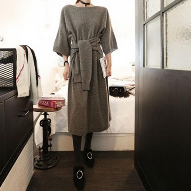 韓国ファション上品ニットワンピース マキシワンピース 体型カバー