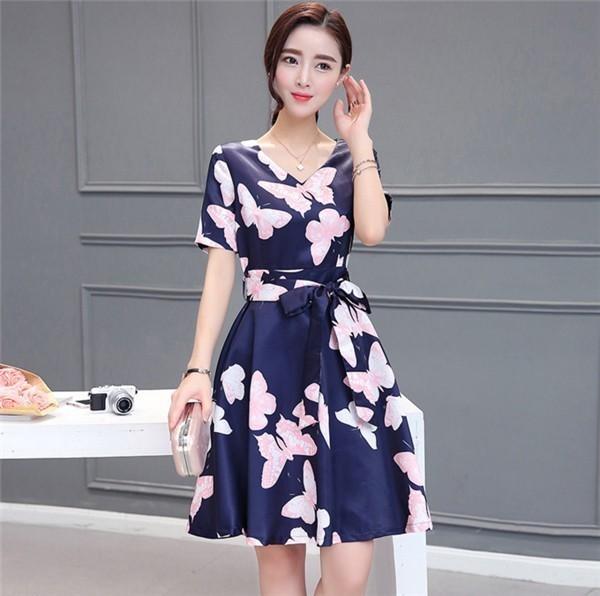 レディースワンピース 韓国無地 スリム 韓国のファッション  ロングスカート V領半袖ワンピース  ハイウエストワンピース  プリントワンピース  ハイセンス 着心地いい おしゃれ 夏 スリム セール★ レディースワンピース