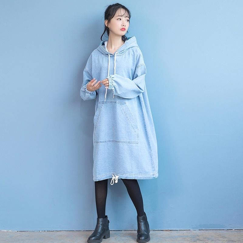 レディース服 ワンピース デニムワンピ デニムワンピースロング丈 クラシックデザイン