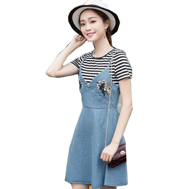 2017早秋  韓国ファッション  レディース  ワンピース 流行 体型 カバー  刺繍  可愛い  上質   SKZ177