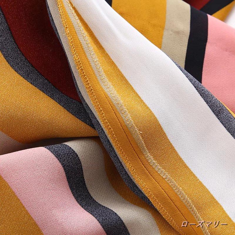 【ローズマリー】ストライプ垂性迷笛ワンピラウンドネック裄やひじのウエスト帯ひだ対比色ベルトバック縫いでロングスカート ストライプ ワンピース ベーシック かわいい-QQ1648