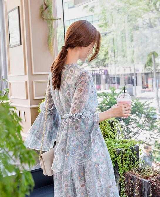 レディース ワンピース 新作 ミドル 花柄 森ガール 超人気 ドレス