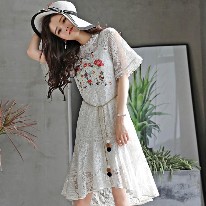 韓国レーテイスファション ワンピース 花柄 刺繍  着やせレースワンピース絶対高品質