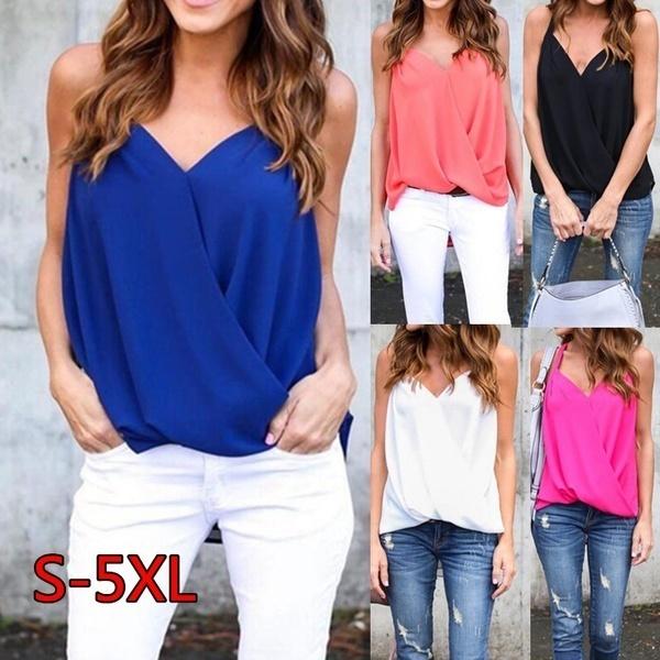 女性ファッションタンクトップ夏セクシーなビーチノースリーブシフォンTシャツプラスサイズ