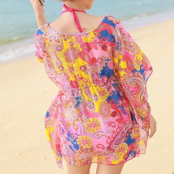 レディース サマードレス ビーチドレス ワンピース 半袖 シフォン 膝上丈 カバービキニ 花柄 大人可愛い カジュアル フリーサイズ セクシー ビーチ カバーアップ リゾート オレンジ ピンク ブルー