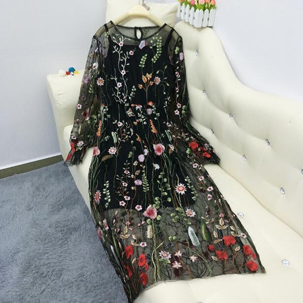 刺繍ワンピース  長袖ワンピース 『2点セット』 キャミワンピ付き 夏 ロングワンピース マキシワンピース 透かし編み 花柄