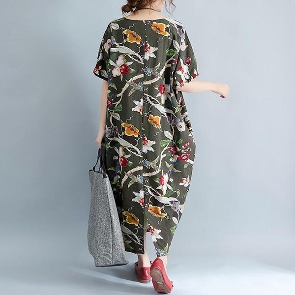 プラスサイズS-5XL女性バットウィングスリーブルース花プリントバギーカフトンロングマキシドレス