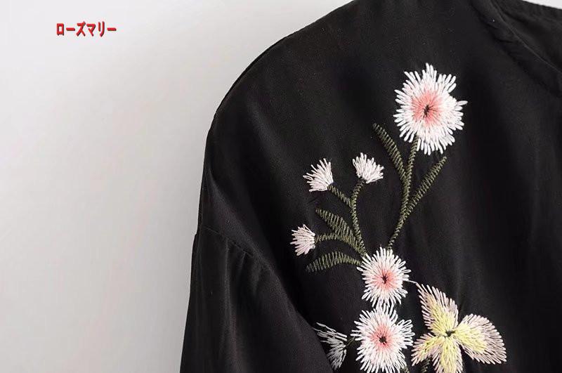 【ローズマリー】欧米2018春季新型女装ファッション百搭着やせ刺繍花腰長袖ワンピース スイート 花柄 刺繍レース 可愛い-R520