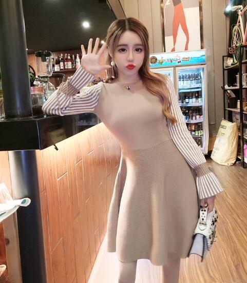 [55555SHOP]秋のファッション★韓国ファッション★女性ファッション★ラインがきれいなストライプニット・ワンピース★・ニット★デートファッション★