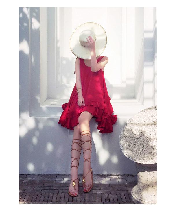 大人気ファッションワンピース  ビーチスカート  ワンピース  花柄 無袖 ノースリーブ 日焼け止め対策  レディース  ドレス  ビキニ/水着/スカート夏旅行お揃い/ひざ下 ひざ丈  ビーチスカート